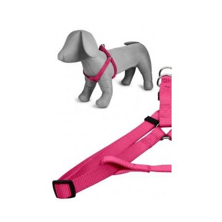Arnés nylon 20mmx46-75cm, rosa
