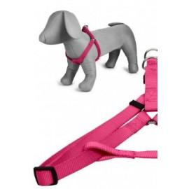 Arnés nylon 25mmx60-100cm, rosa
