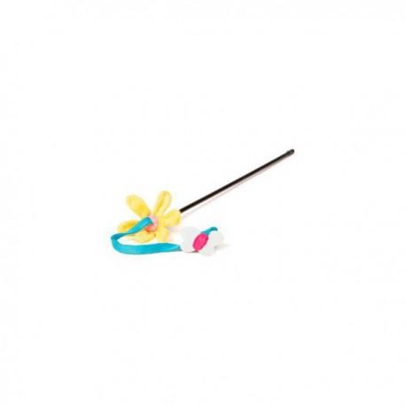 Juguete gato spring caña flor y mariposa