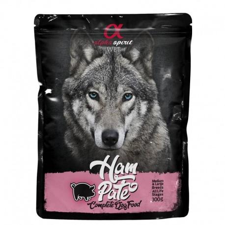 Alpha Spirit perro pouch pate jamon 12x300grs